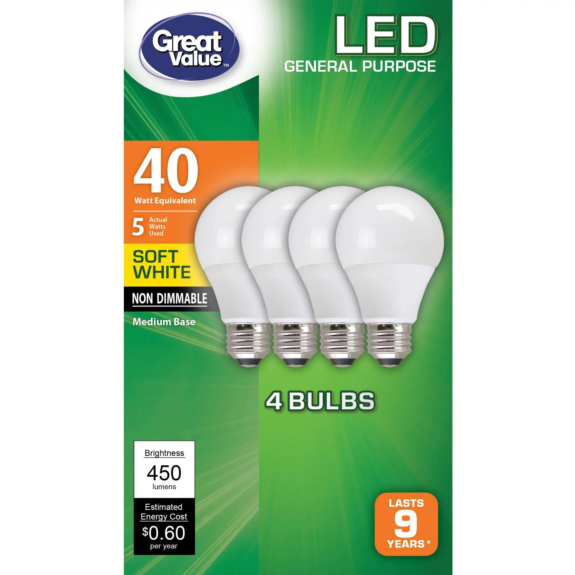 Great Value Led Light Bulbs 5w 40w Equivalent Soft