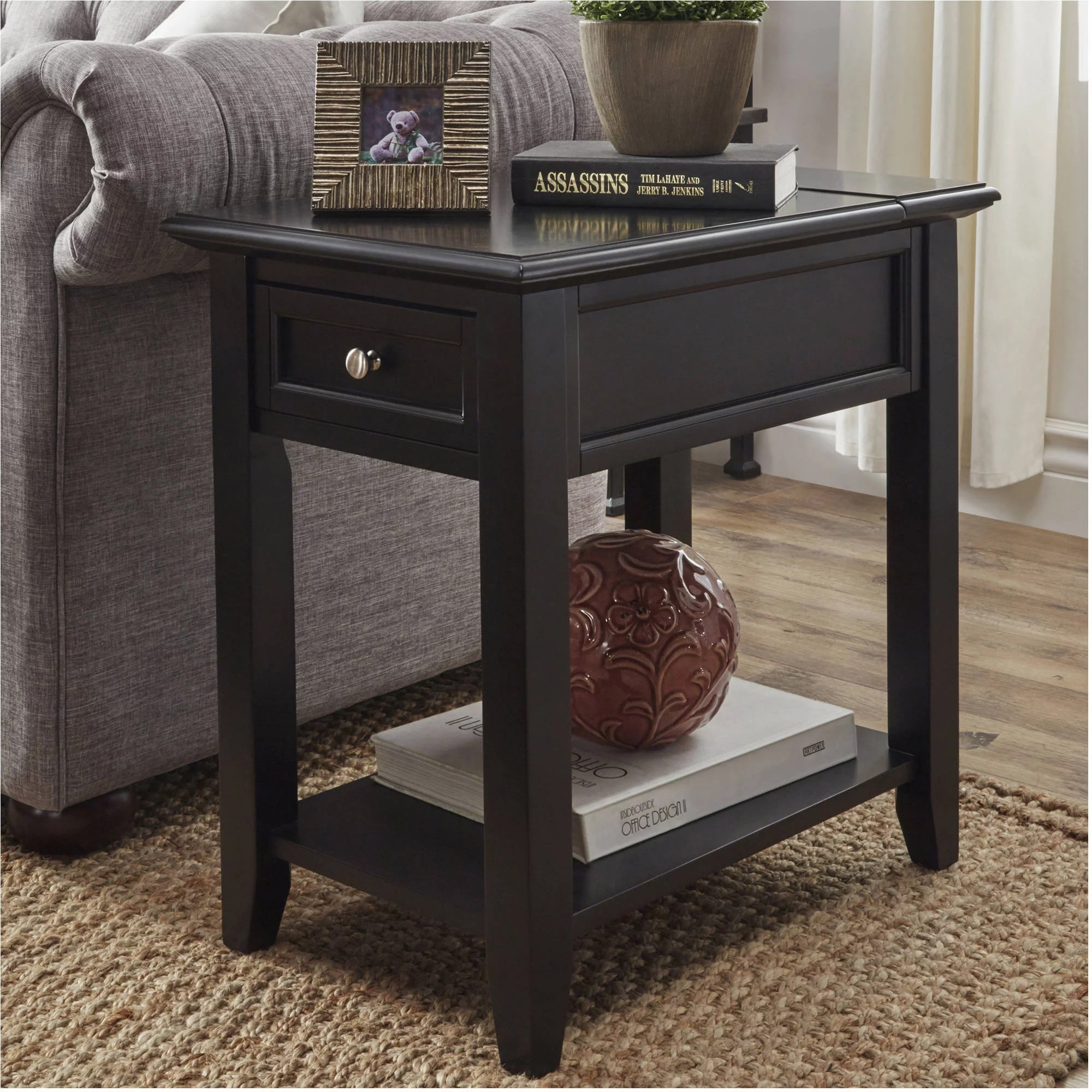 Chelsea Lane Wood 24 High End Table With One Drawer And Lift Top 3 Plug Power Outlet Vulcan Black Walmart Com Walmart Com