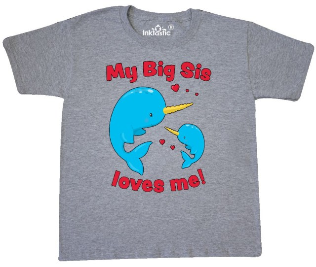 Inktastic My Big Sis Loves Me Narwhal Family Youth T Shirt Walmart Com