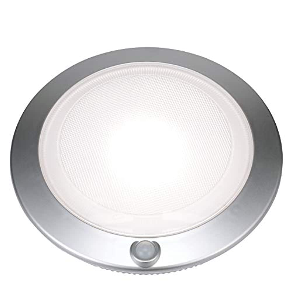 good earth lighting rechargeable lithium battery led motion activated 7 inch round closet light silver 25w incandescent equivalent 4000k