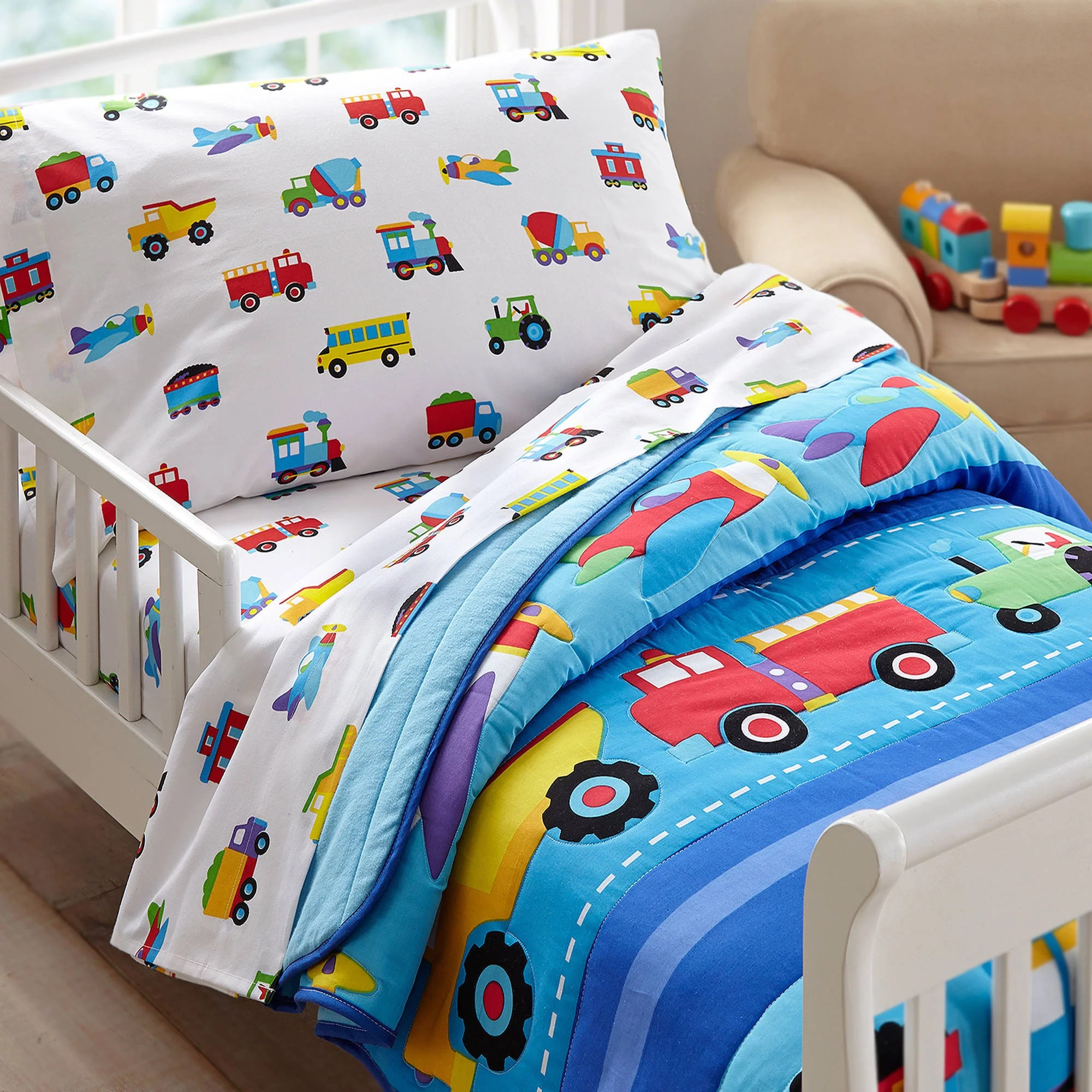 olive kids trains, planes, trucks toddler bedding comforter