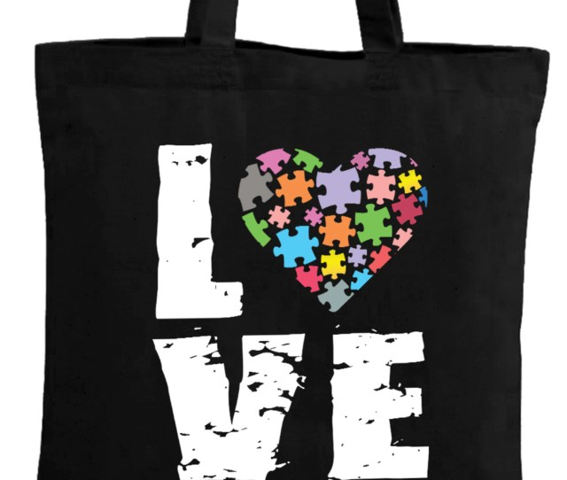 Awkward Styles Love Autism Puzzle Tote Bag Autism Awareness Gifts For Men And Women Support Autism Products Autism Love Puzzle Reusable Cotton Bag Autism