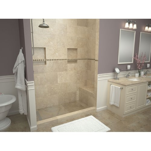tile redi single threshold shower base with bench and drain top