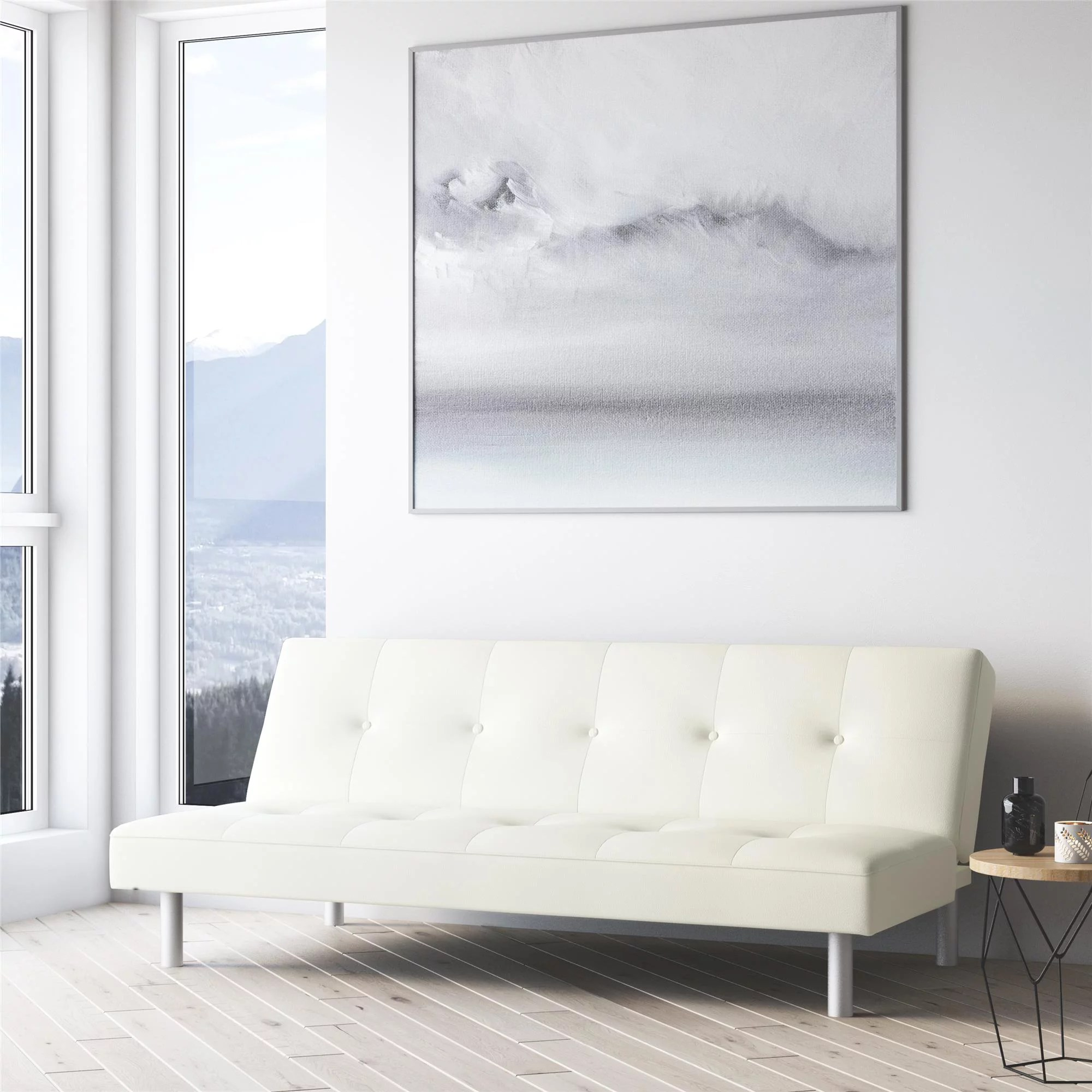 dorel home nola futon white faux leather