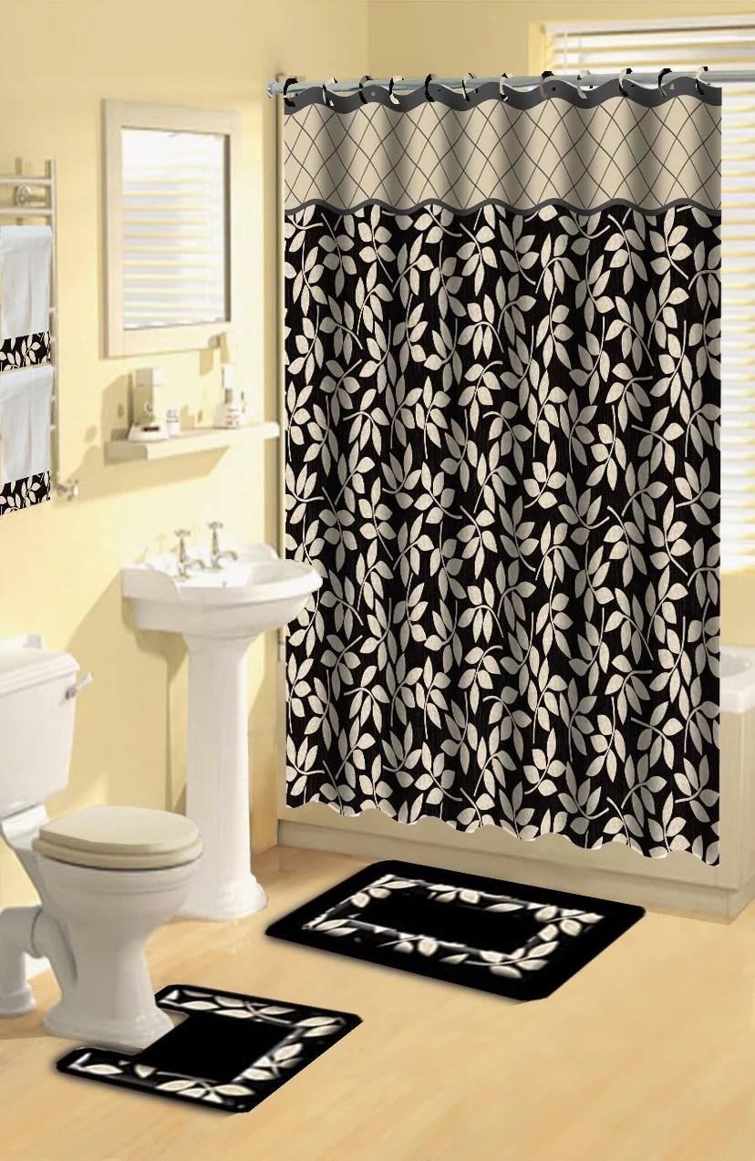 home dynamix boutique deluxe shower curtain and bath rug set bou 12 leaves black 17 piece bath set walmart com
