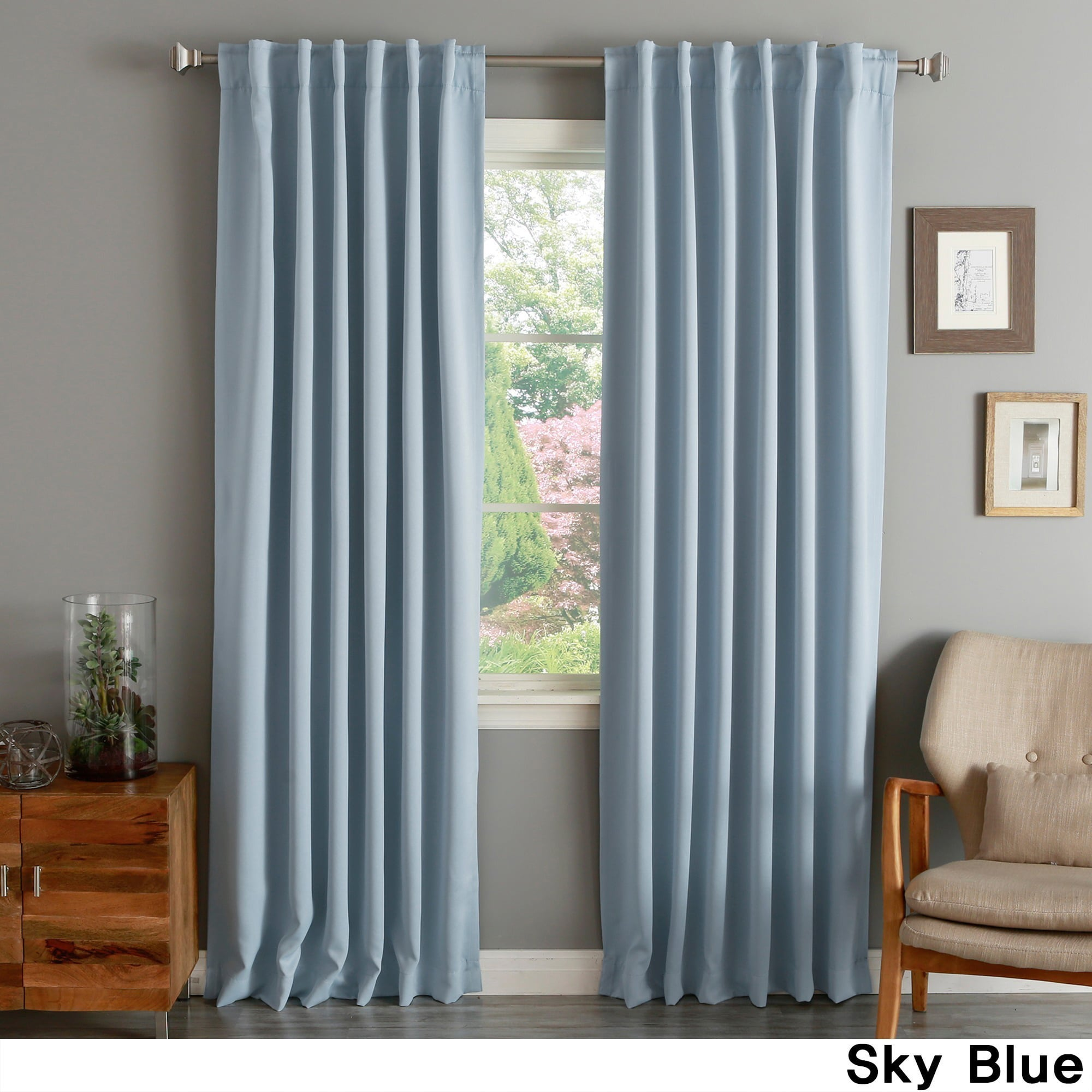 aurora home solid thermal insulated 108 inch blackout curtain panel pair 52 x 108