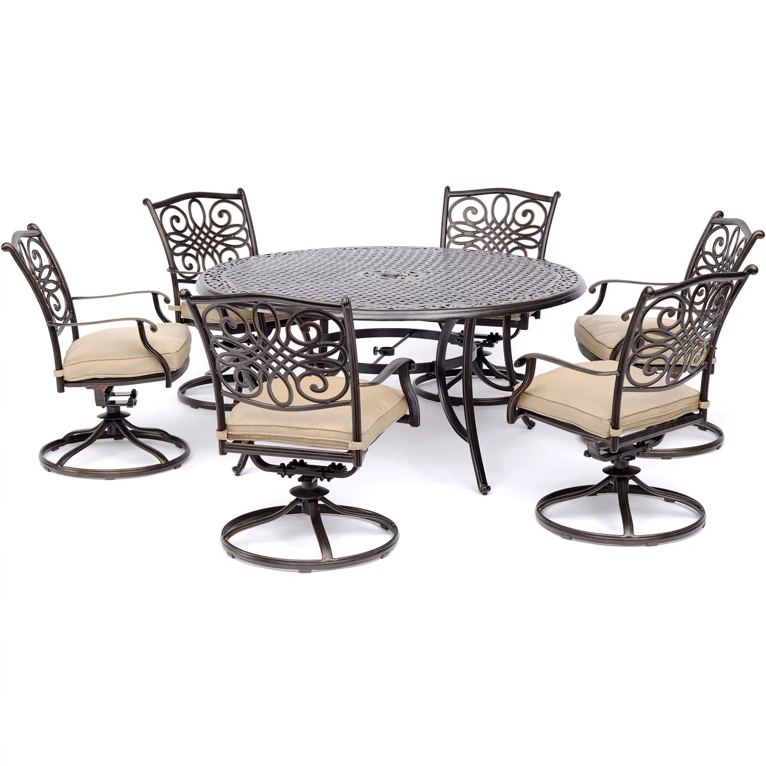 hanover traditions 7 piece outdoor dining set with round cast top table and 6 swivel rockers