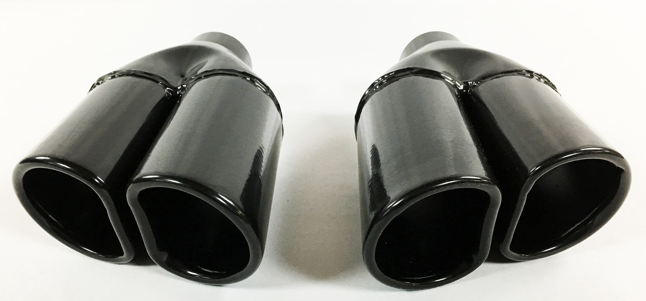 exhaust tips 2 25 in inlet 5 50 x 3 375 oval d 11 50 in long dual round edge black stainless wesdon exhaust tip left right