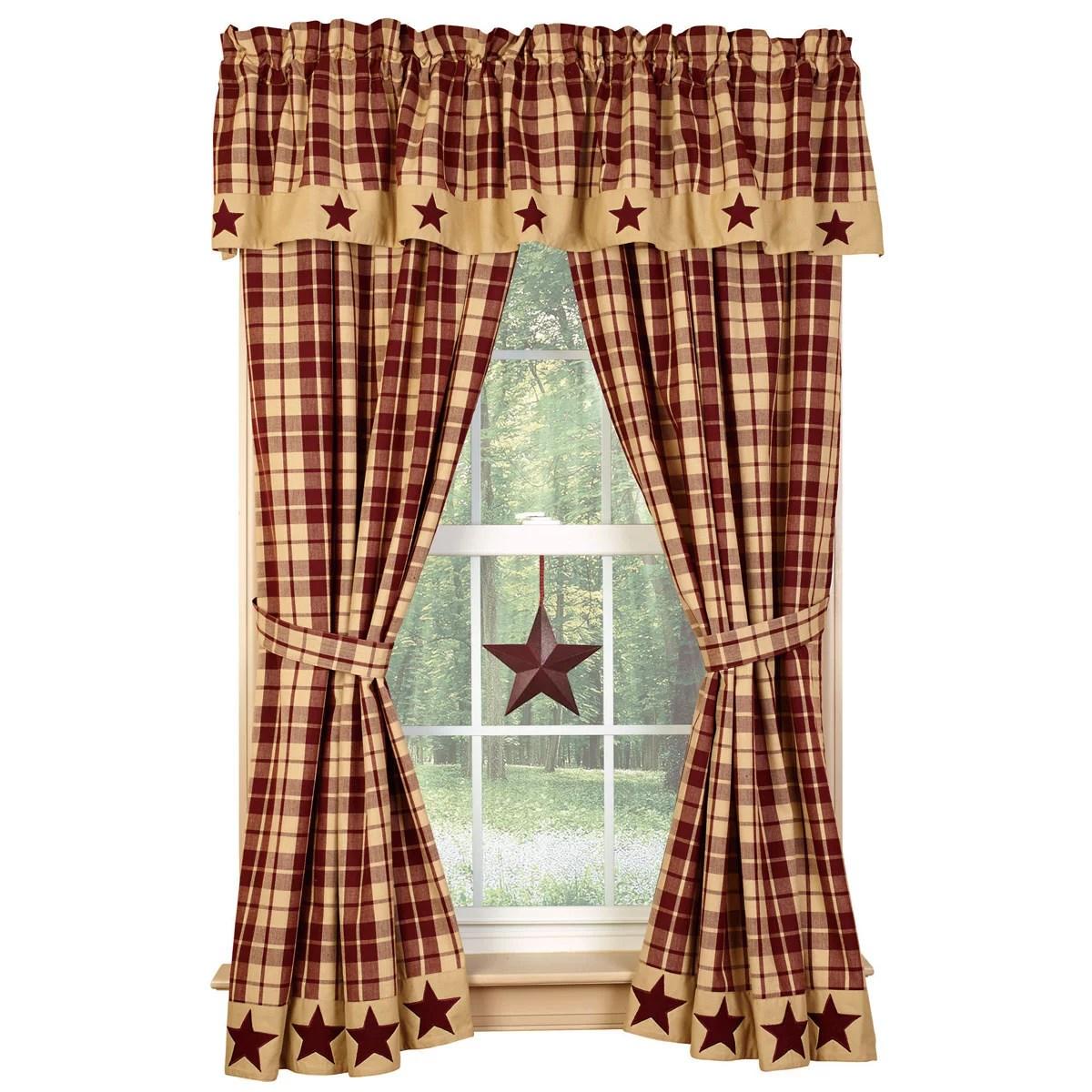 farmhouse star lined curtain panels burgundy or black and tan 63 84 lengths