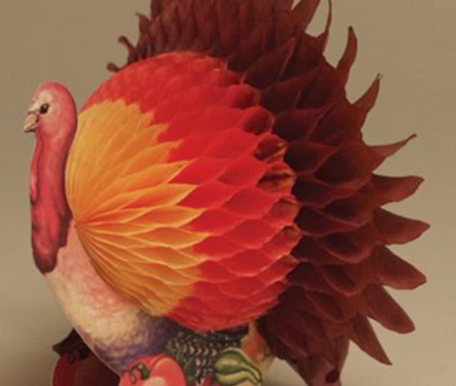 Pack Of  Small Thanksgiving Harvest Honeycomb Tissue Paper Turkey Decorations