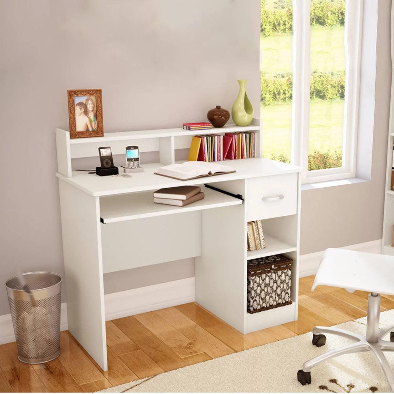 ktaxon computer desk home office workstation laptop table drawer shelf furniture white