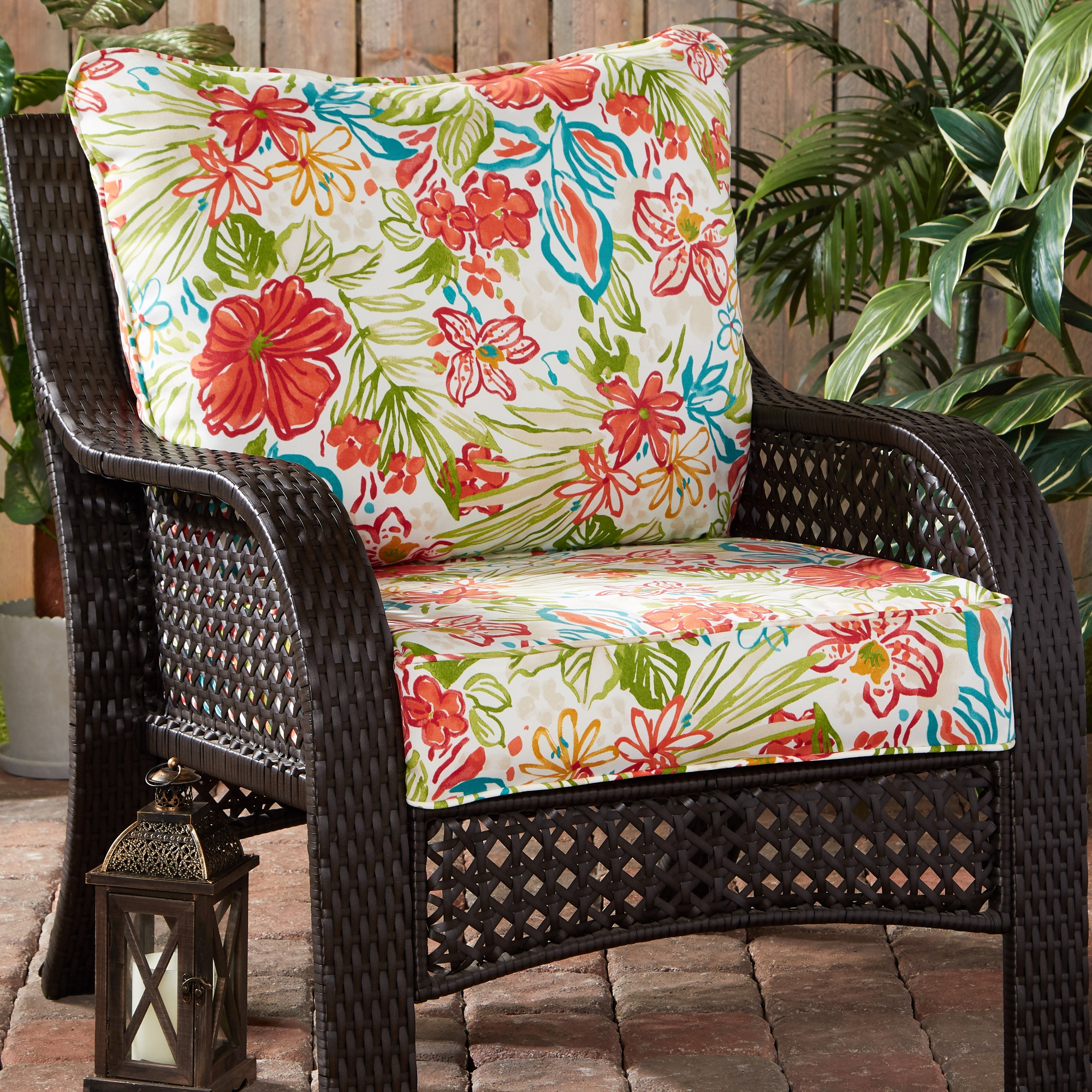breeze floral outdoor 2 pc deep seat cushion set walmart com