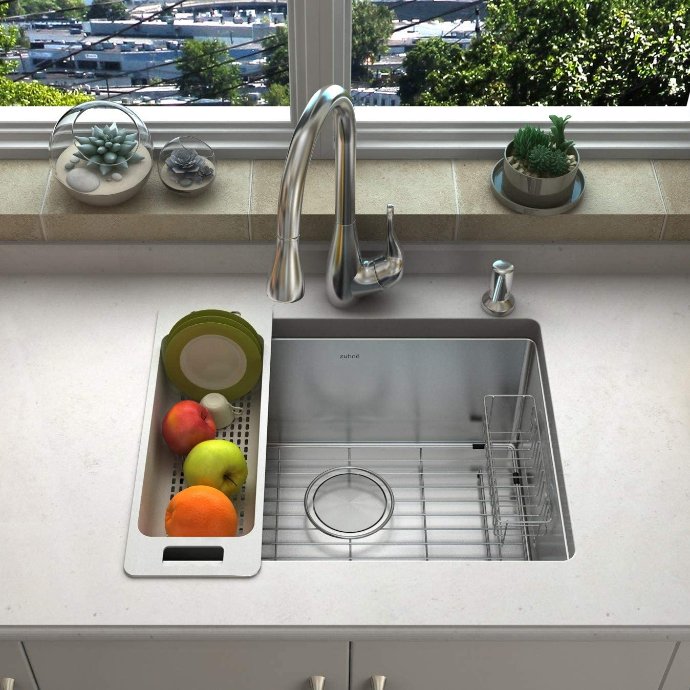 zuhne 21 inch undermount single bowl 16 gauge stainless steel kitchen sink for 24 inch cabinet open box