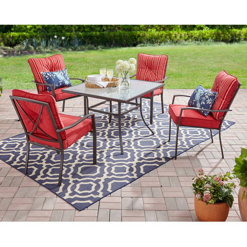 mainstays forest hills 5 piece outdoor patio dining set red