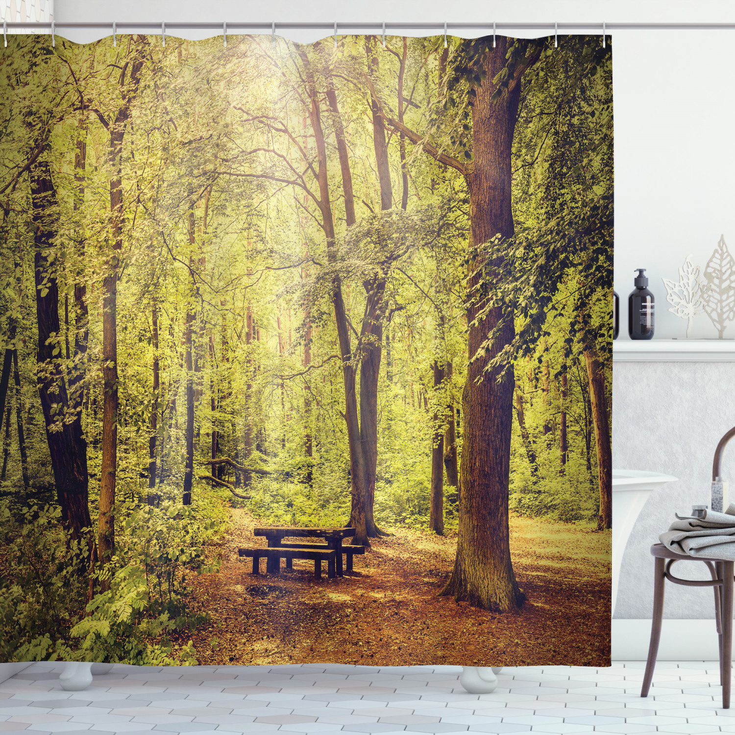 forest shower curtain picnic table in the forest foliage greenery nature theme summer and winter theme fabric bathroom set with hooks green brown