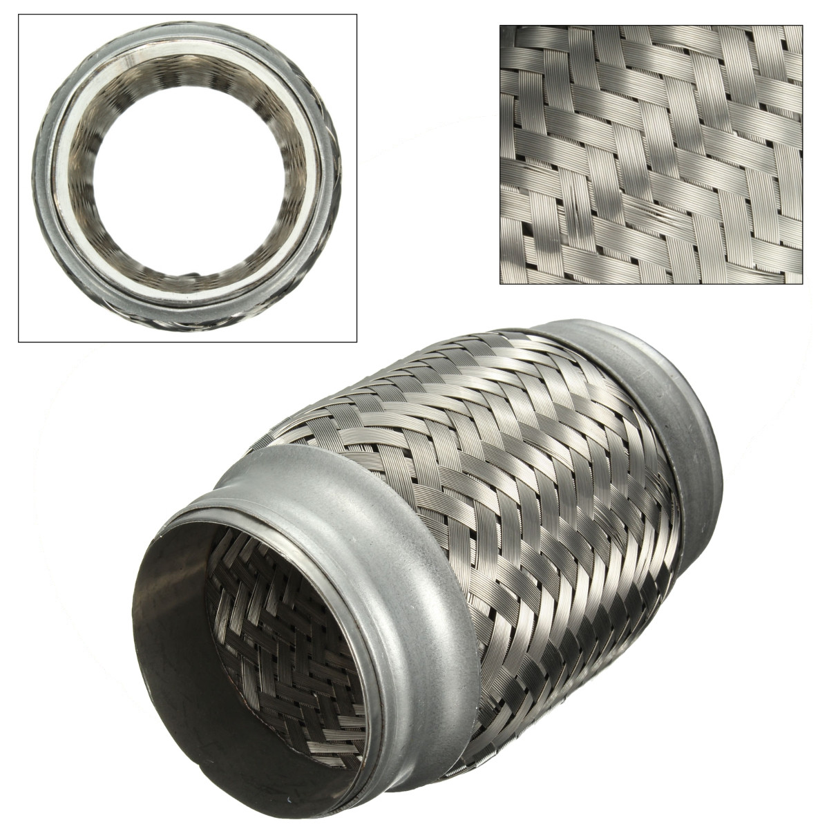 car 2 5 x 5 stainless steel exhaust pipe hose double braided flex connector adapter piping us
