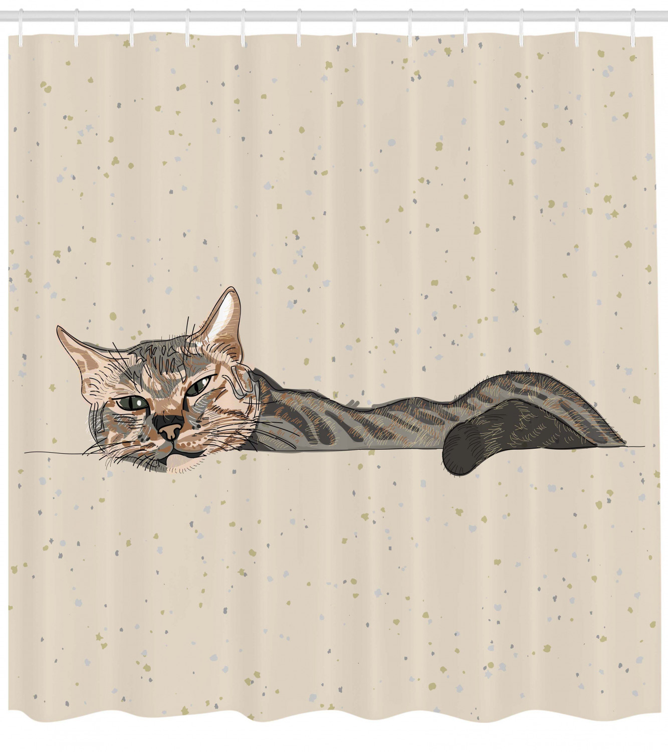 Cat Shower Curtain Lazy Sleepy Cat Figure In Earth Tones Cute Furry Mascot Indoor Pet Art Illustration Fabric Bathroom Set With Hooks Grey Beige