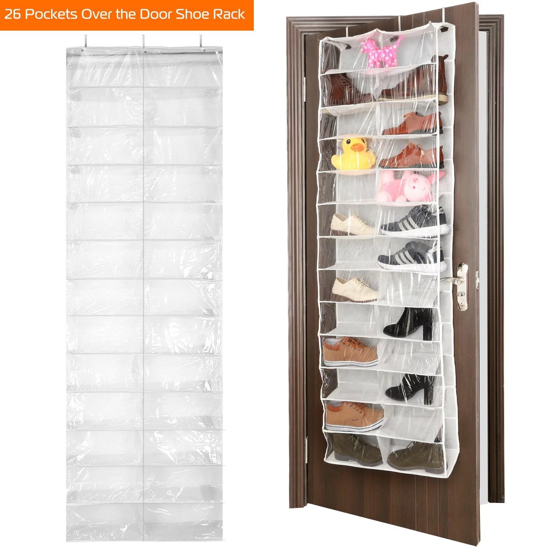 imountek 26 pocket over the door shoe rack hanging shoe organizer shelves 26 sections foldable shoe organizer dust proof
