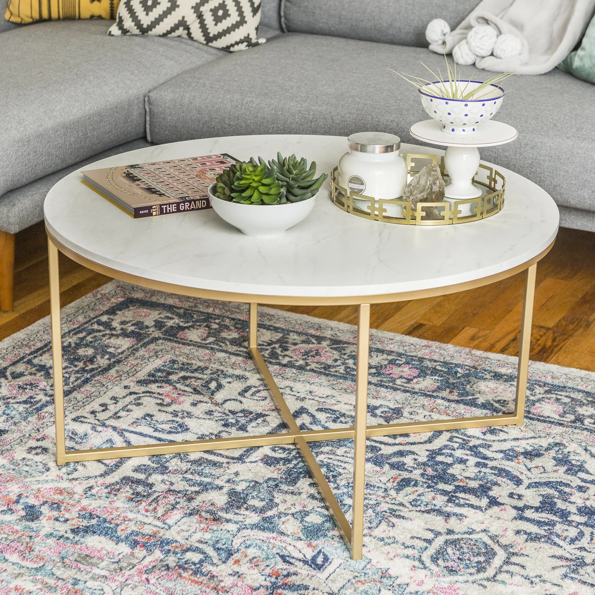 ember interiors daisy faux marble and gold round coffee table marble gold
