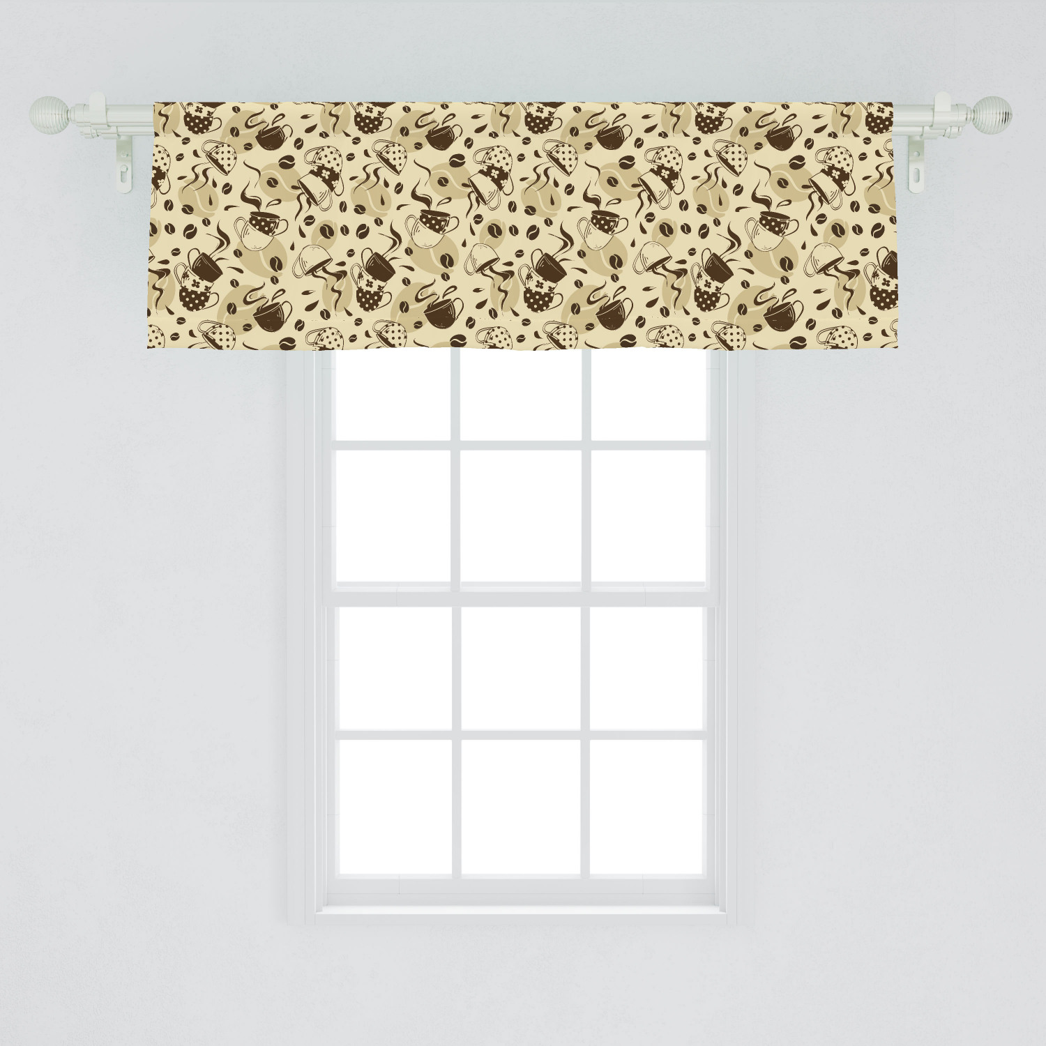 Modern Window Valance Contemporary Coffee Cups Polka Dots And Beans Roasted Graphic Design Curtain Valance For Kitchen Bedroom Decor With Rod Pocket By Ambesonne Walmart Com Walmart Com