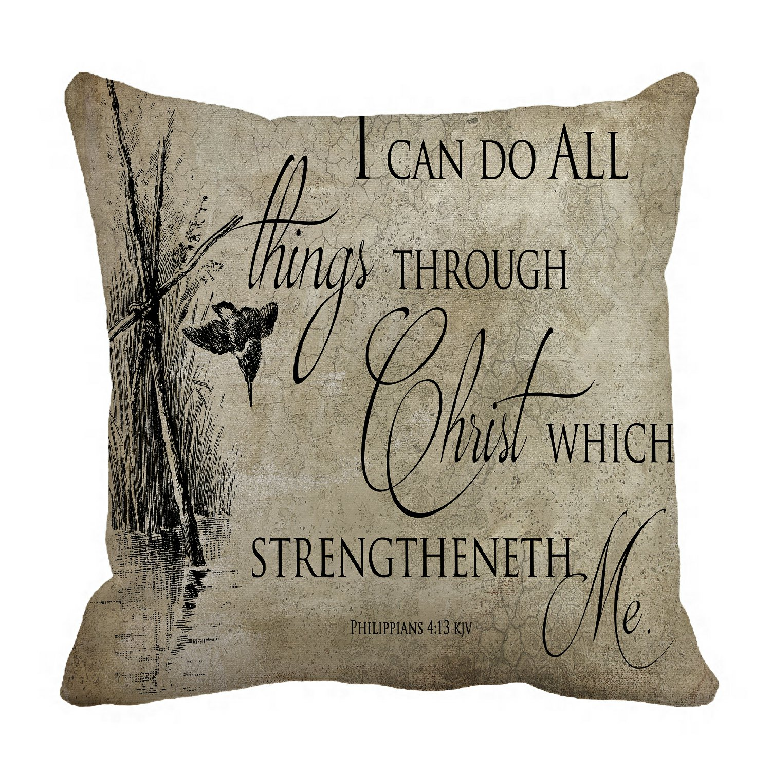 phfzk inspirational pillow case bible verse pillowcase throw pillow cushion cover two sides size 18x18 inches