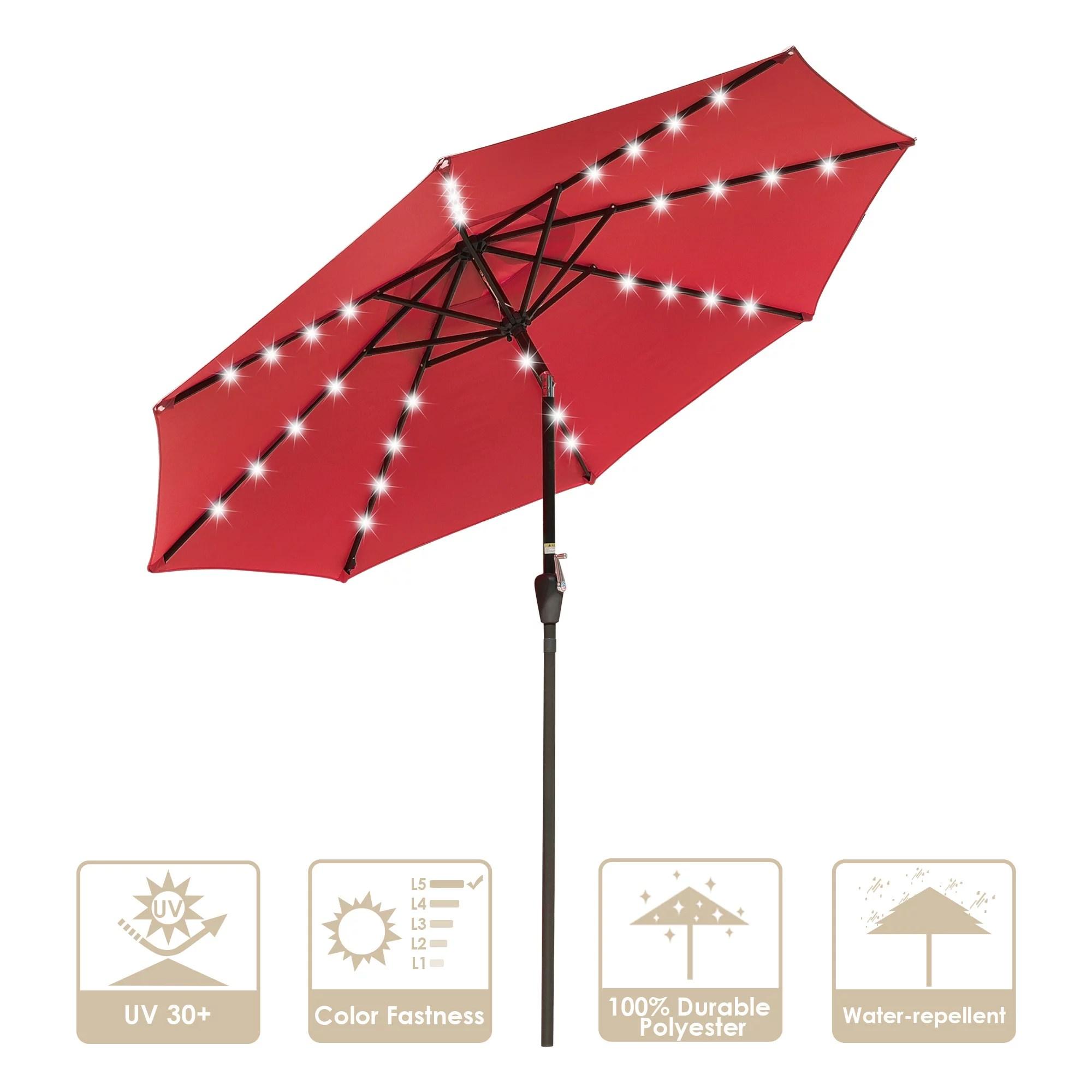 yescom 9ft 8 ribs aluminium patio umbrella with 32 solar powered led crank tilt outdoor market red