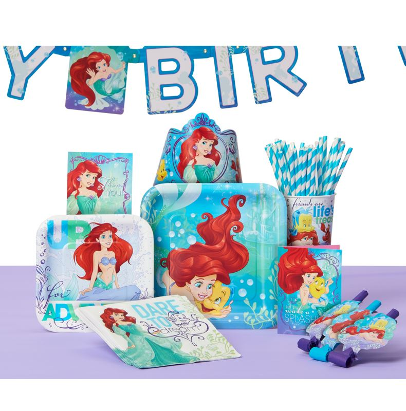 The Little Mermaid Birthday Party Supplies Tableware Decoration And Balloon Kit For 16 Guests Walmart Com Walmart Com