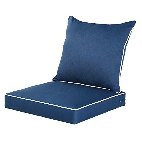qilloway outdoor indoor deep seat chair cushions set replacement cushion patio furniture navy blue