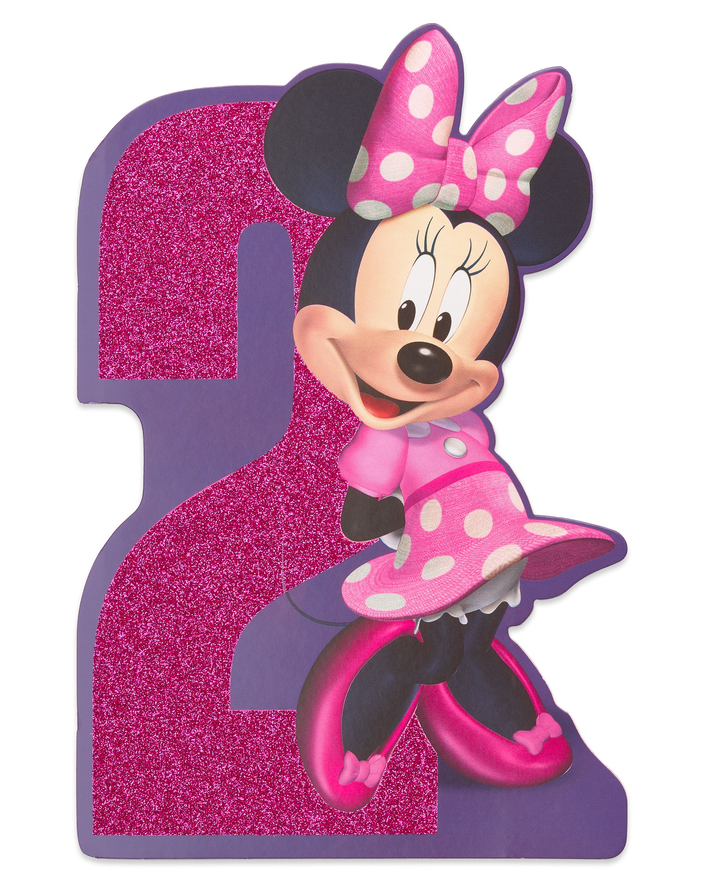 american greetings minnie mouse 2nd birthday card for girl with glitter walmart com