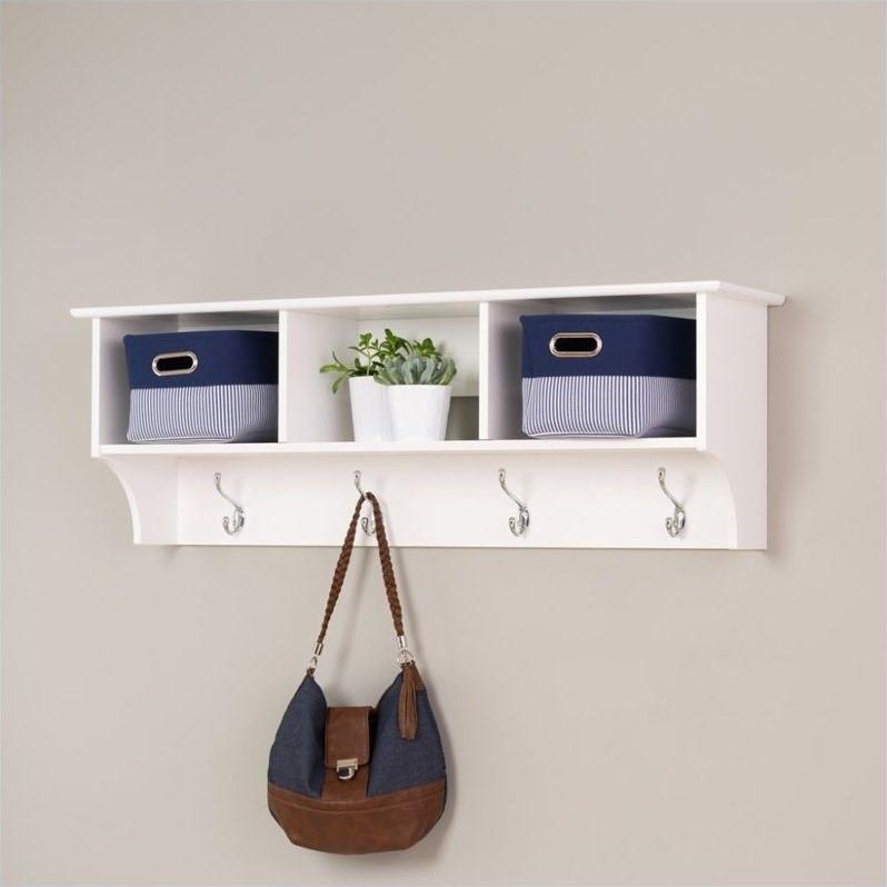 kingfisher lanes entryway wall cubby shelf coat rack in white
