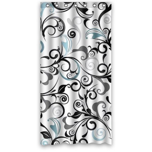 mohome grey black and blue damask shower curtain waterproof polyester fabric shower curtain size 36x72 inches