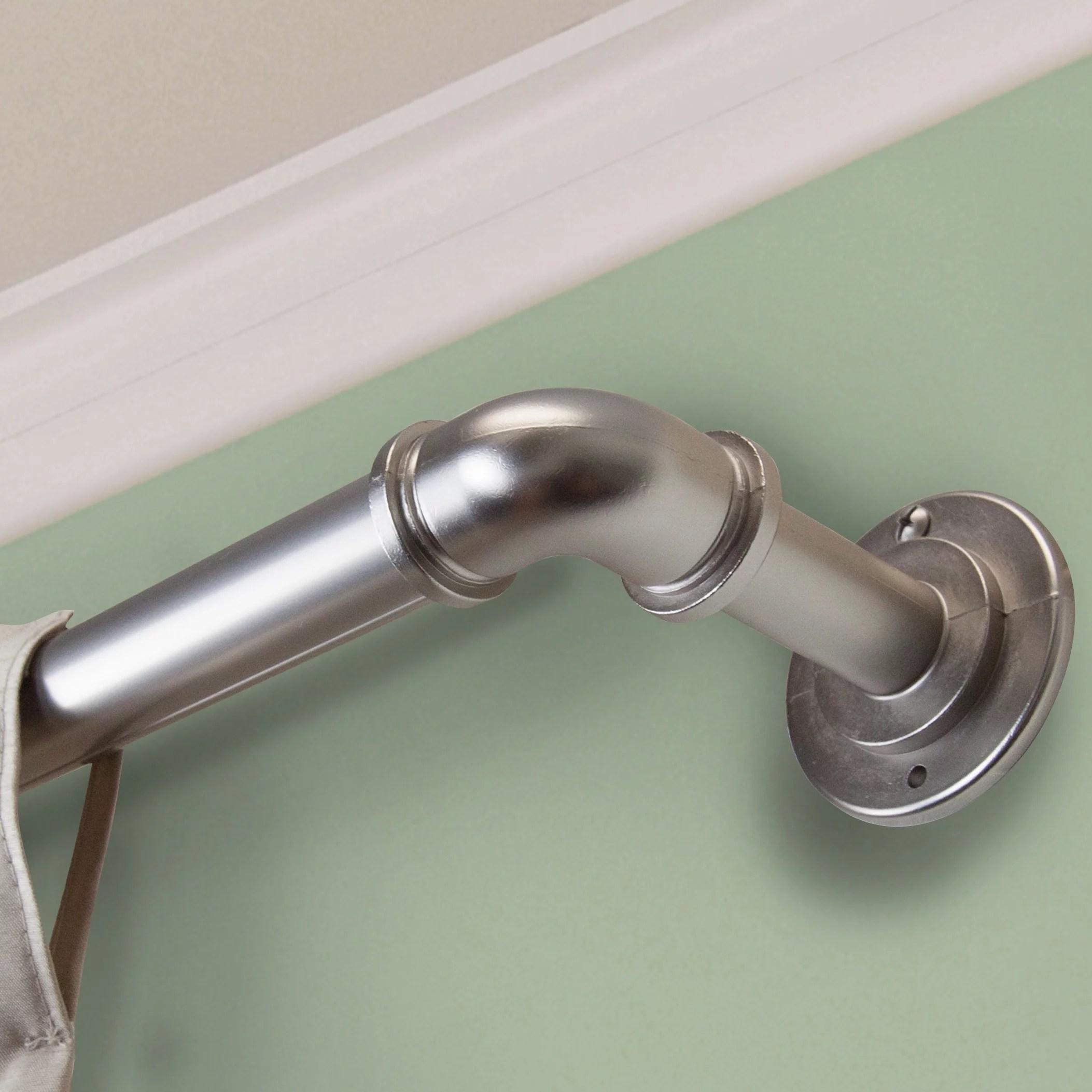 instyledesign modern industrial steel pipe 1 inch dia adj curtain rod