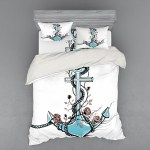 Anchor Duvet Cover Set Romantic Boho Design Sketch Of An Old Anchor With Roses Black Ink Style Bedding Set With Shams And Fitted Sheet 3 Sizes By Ambesonne Walmart Com Walmart Com