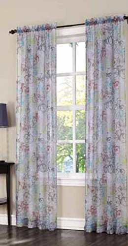 Easy Care Fabric Sheer Curtains, 40 x 84 Inch, Peddle Print, 2 Pack - Bicycle Themed Print, Filters Light, and Increases Privacy