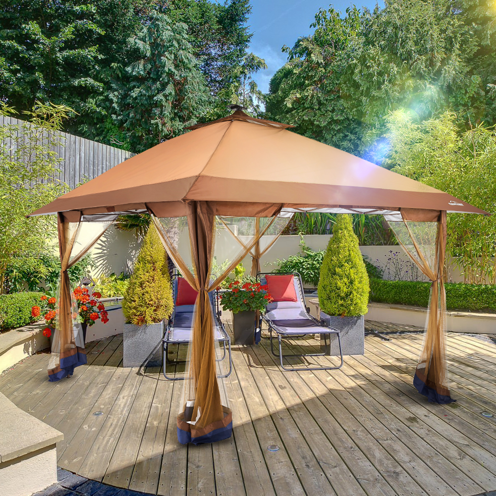 suntime outdoor pop up gazebo canopy with mosquito netting and solar led light for parties and outdoor activities walmart com