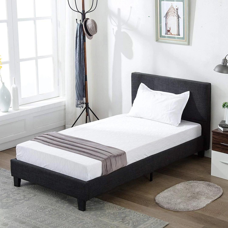 Mecor Upholstered Linen Twin Platform Bed Metal Frame With Wood Slat Support Square Stitched Headboard Black Twin Size Walmart Com Walmart Com