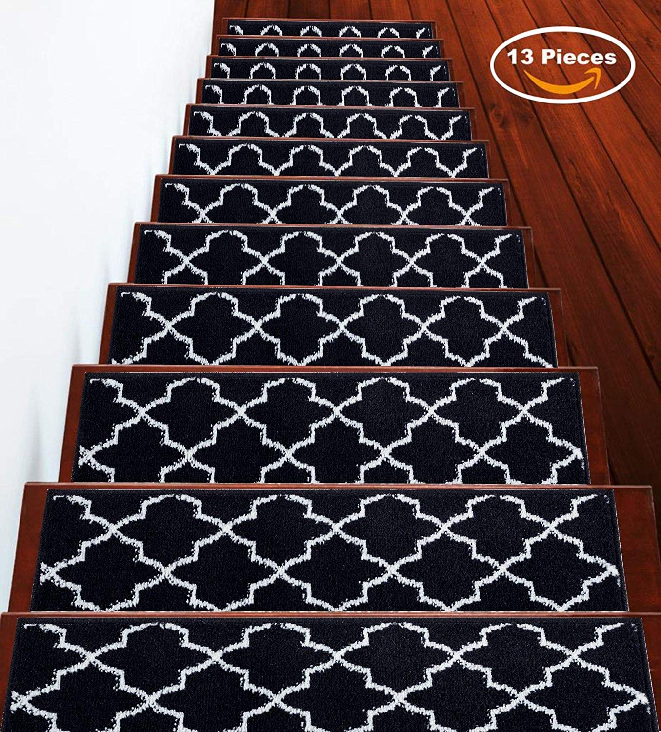 Sussexhome 7 Set Stair Treads Stairs Slide Carpet Stair Tread   Carpet On Stairs Only   Concept   Line Carpet Staircase Double   Pinstripe Grey   Grey   Wood