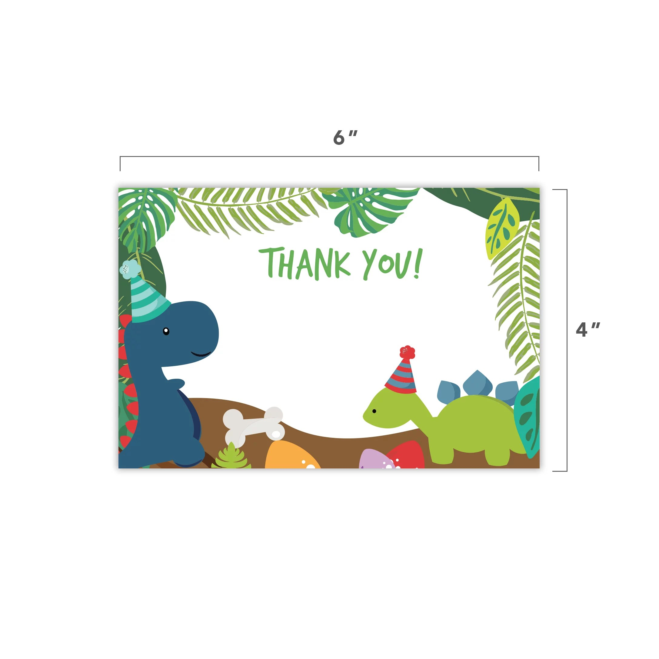 dinosaur thank you cards 25 count with envelopes seal stickers bulk birthday party bridal blank graduation kids children boy girl