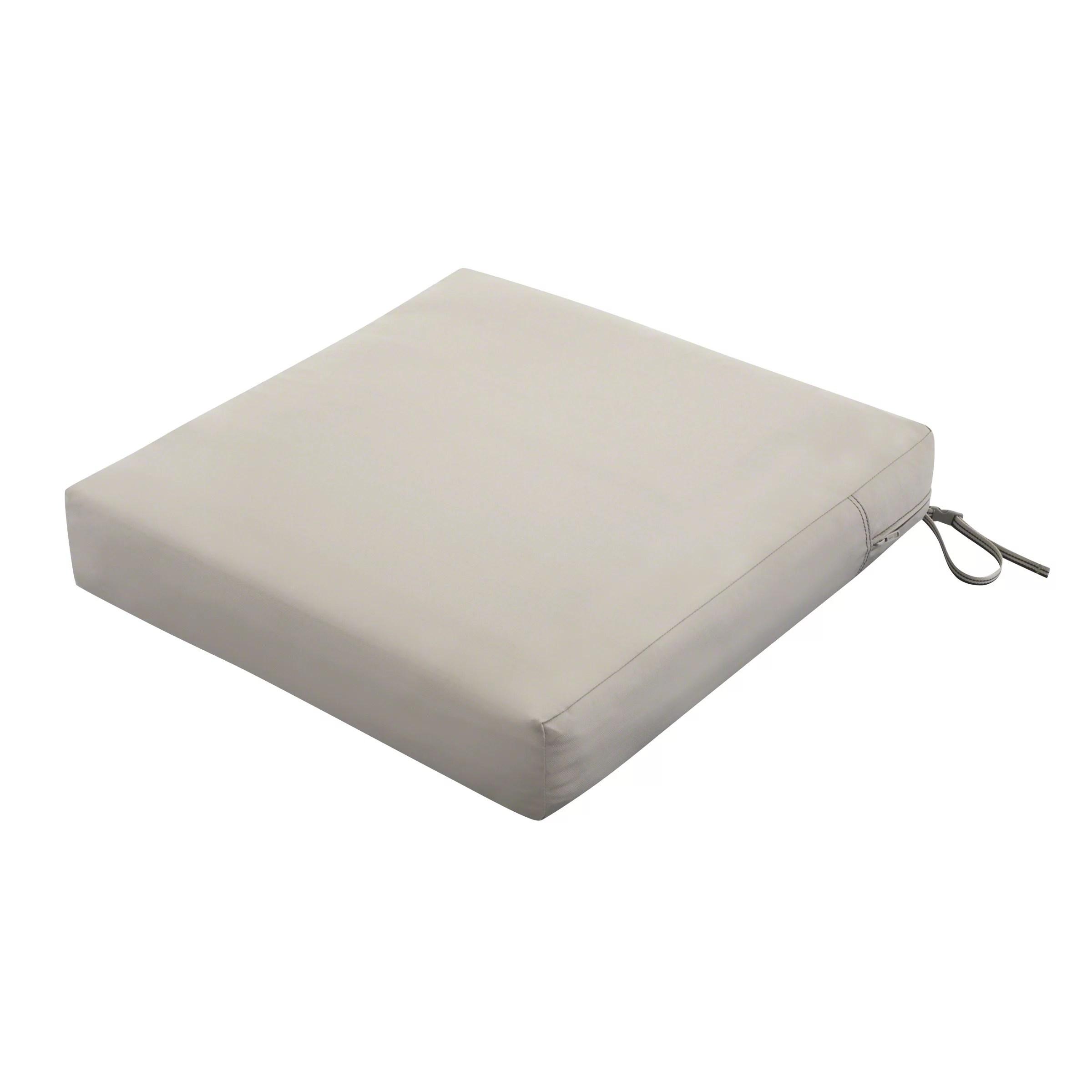classic accessories ravenna rectangular patio seat cushion slip cover foam durable outdoor cushion mushroom 21 w x 25 d x 5 thick
