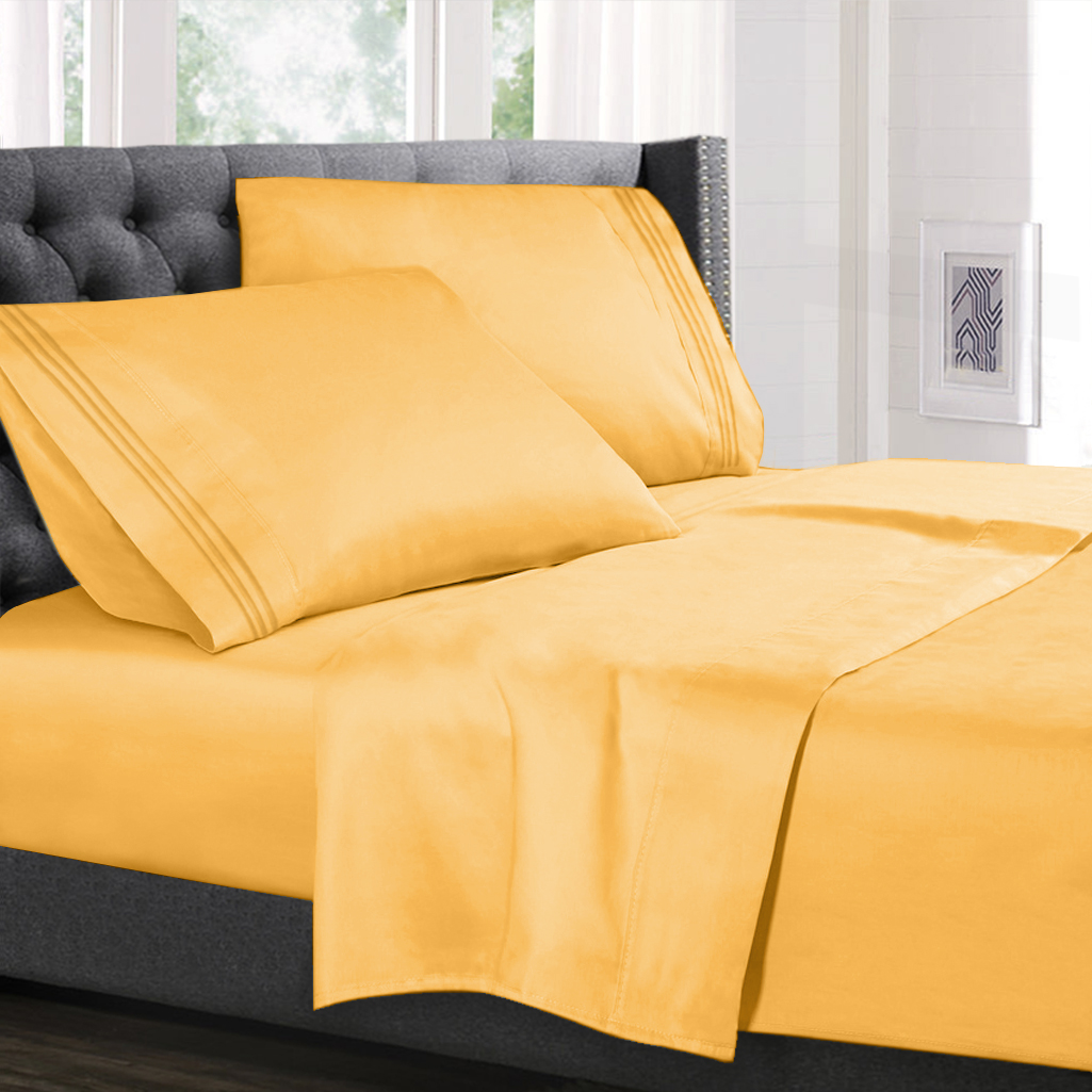Twin Size Bed Sheets Set Yellow Luxury Bedding Sheets Set