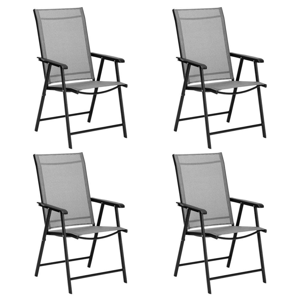 clearance outdoor chairs set of 4 portable patio folding chair with armrests and metal frame outdoor dining chairs for camping beach backyard