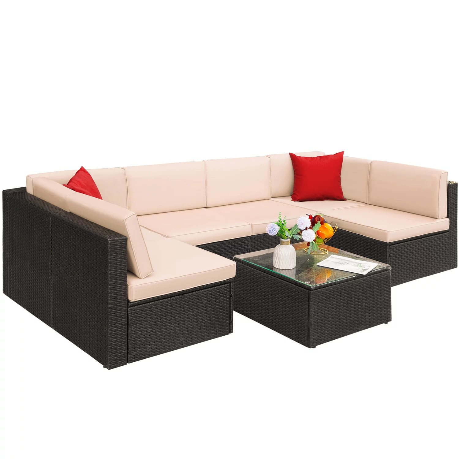 walnew 7 pieces patio conversation set outdoor sectional sofa set pe rattan sectional seating group with cushions and table beige
