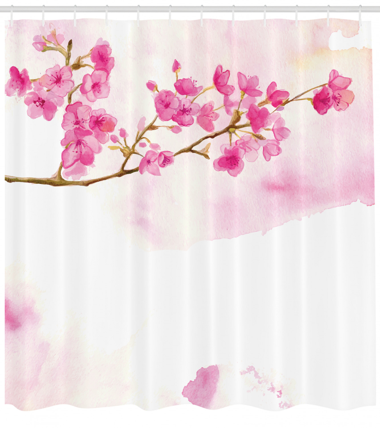 Cherry Blossom Shower Curtain Watercolor Art Of Japanese Peaceful Blossom Gardens Fabric Bathroom Set With Hooks 69w X 75l Inches Long Hot Pink