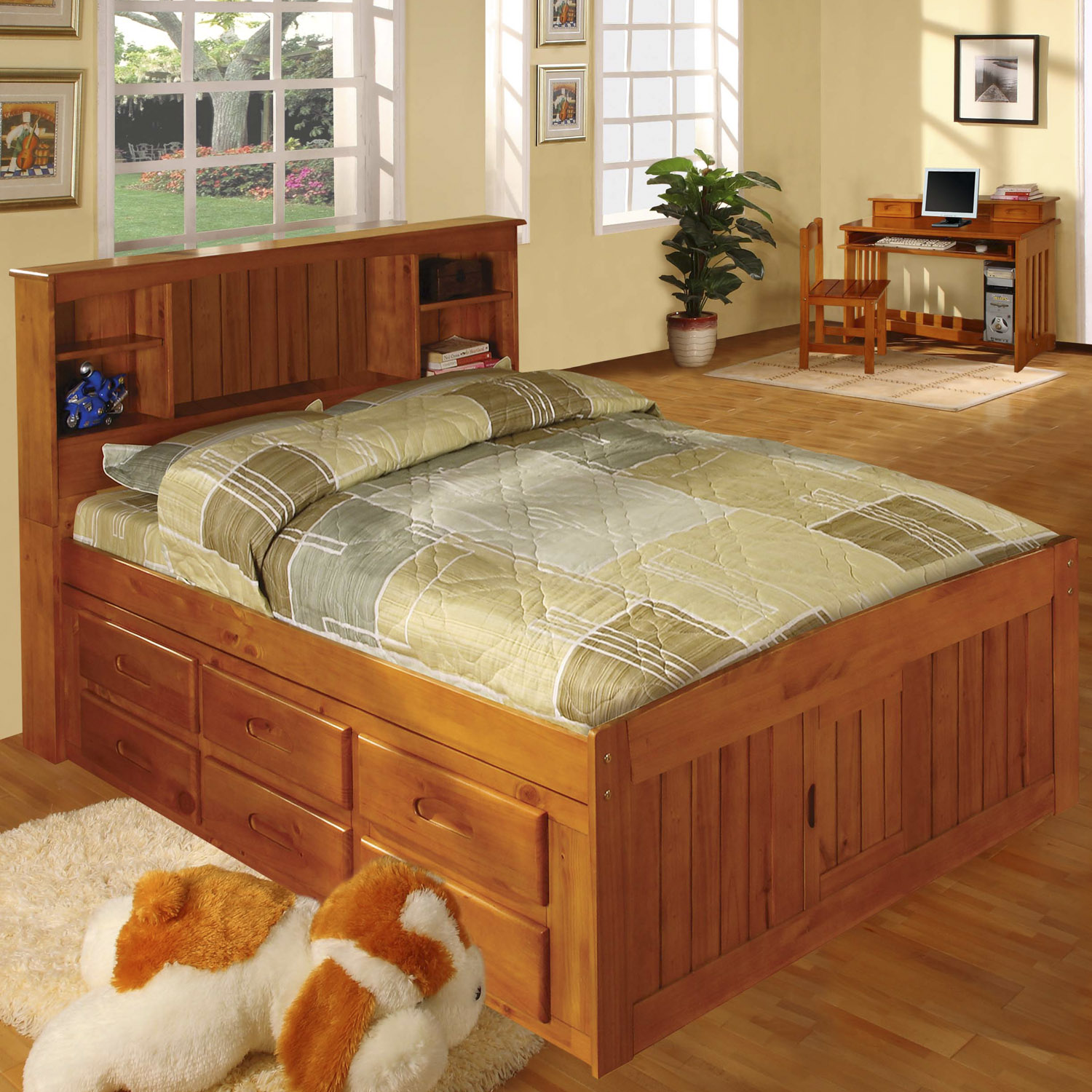 american furniture classics model 2121 12 bch solid pine bookcase headboard full captains bed with 12 underbed drawers in honey