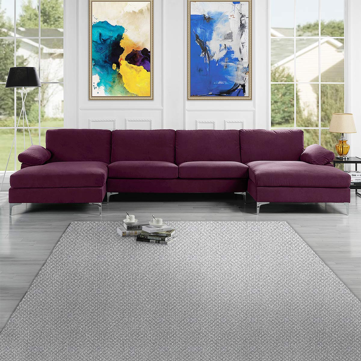 mobilis modern large microfiber velvet fabric u shape sectional sofa with double extra wide chaise lounge purple