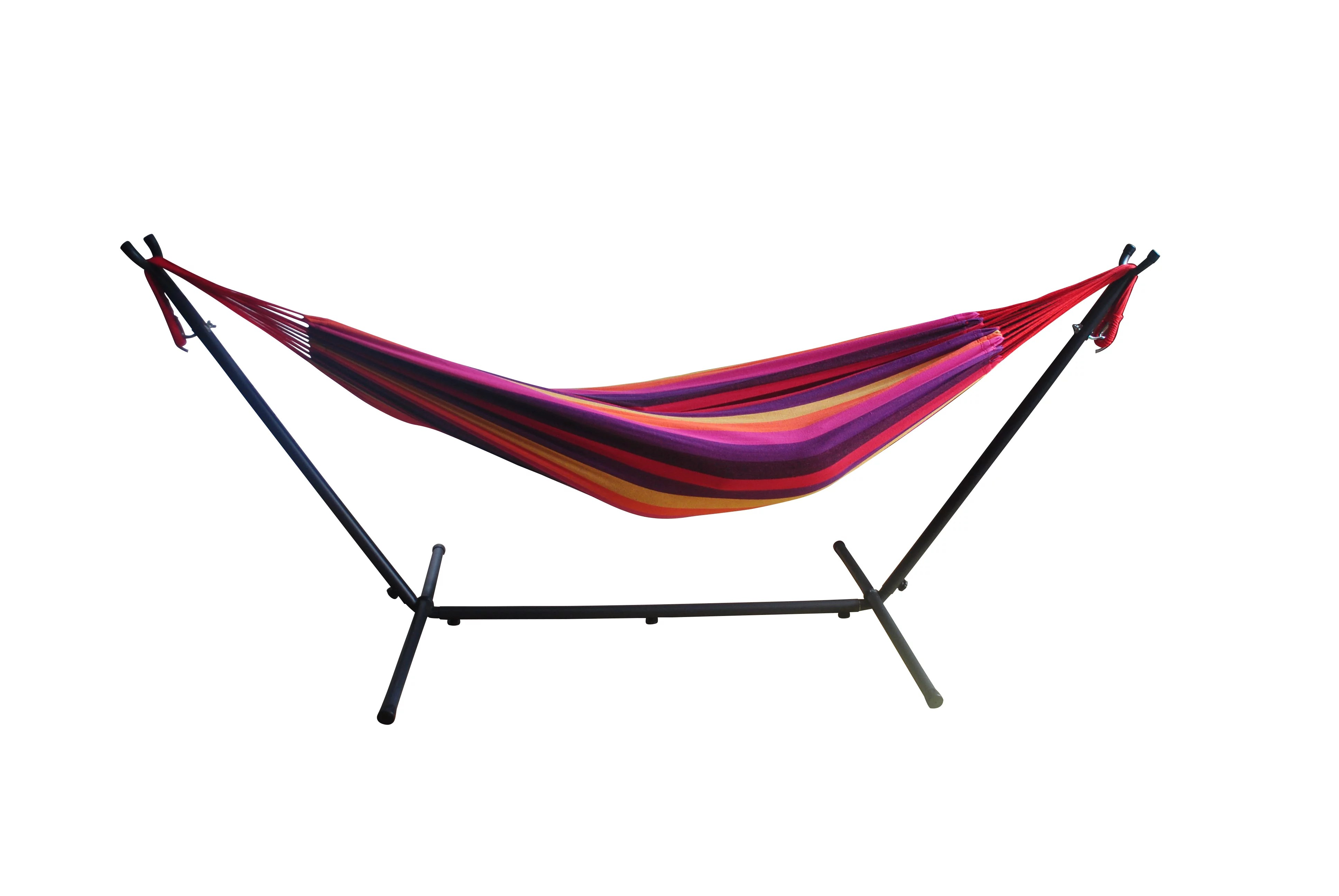 Mainstays Striped Hammock With Metal Stand Deluxe Set