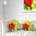 Design Art Designart Bright Red Rose On Light Green Floral Throw Pillow Walmart Com Walmart Com