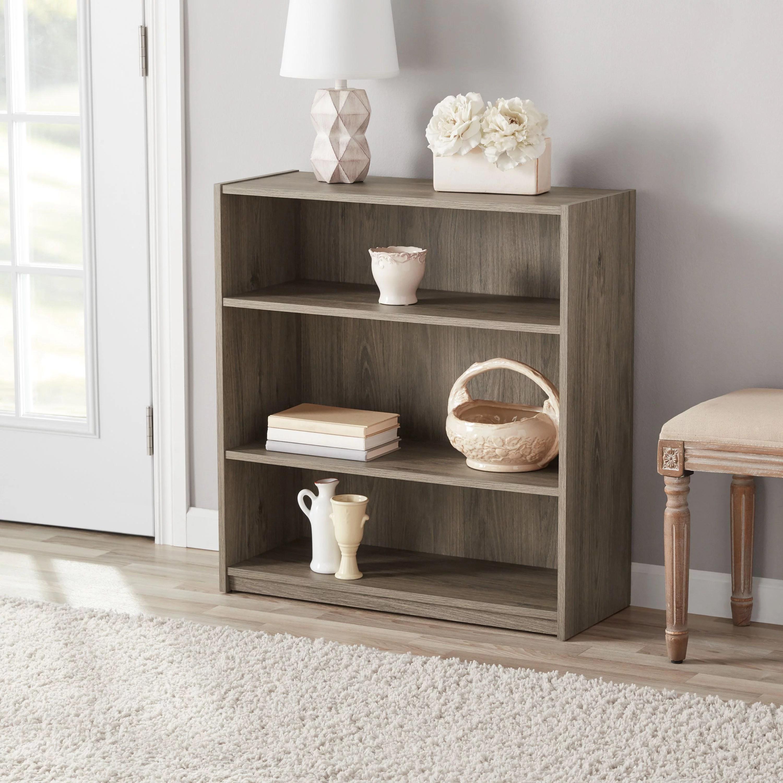 Mainstays 31 3 Shelf Standard Bookcase Rustic Oak Walmart Com Walmart Com