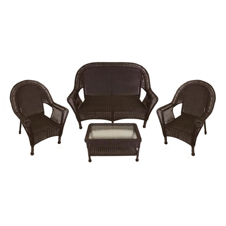 4 piece brown resin wicker patio furniture set 2 chairs loveseat table walmart com