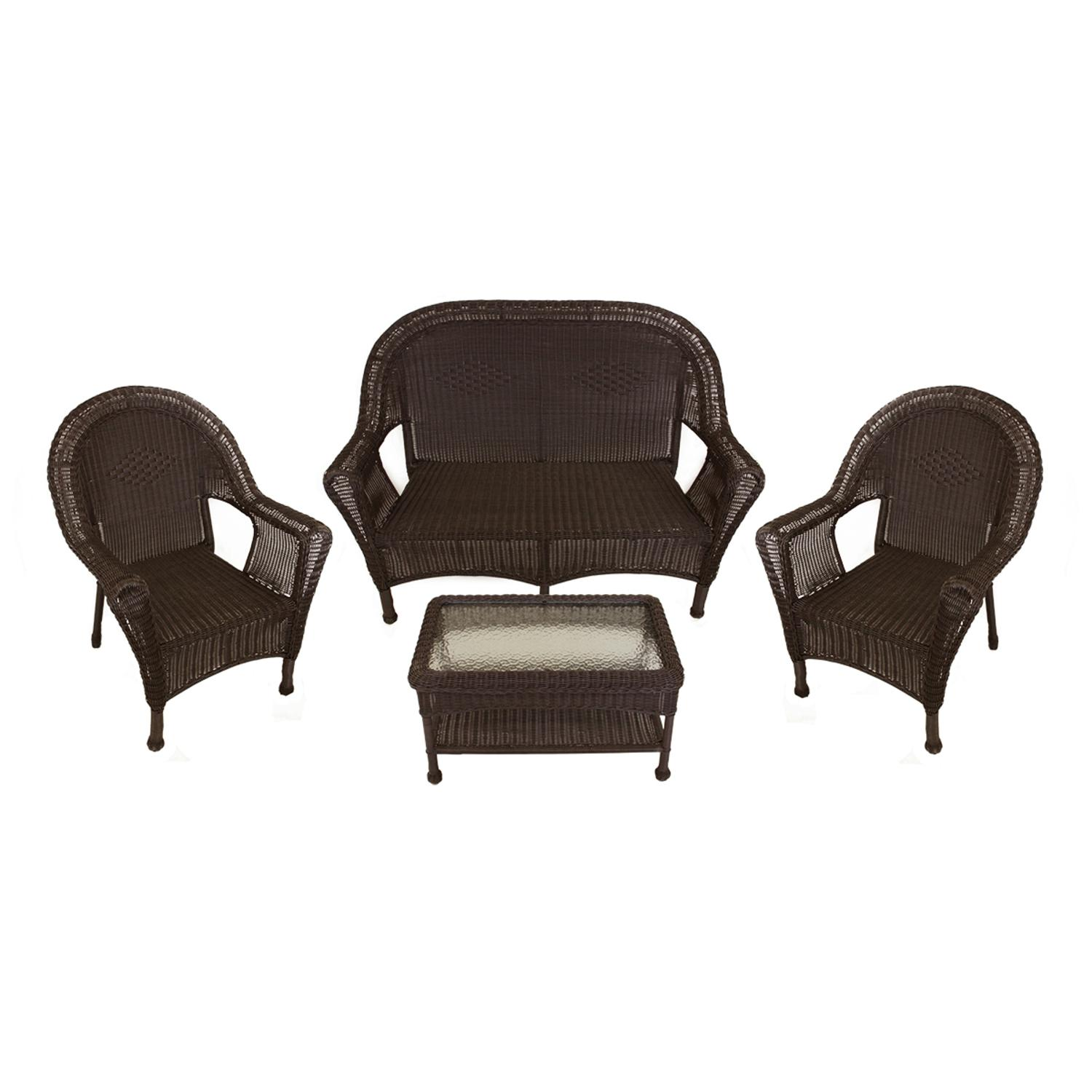 4 piece brown resin wicker patio furniture set 2 chairs loveseat table